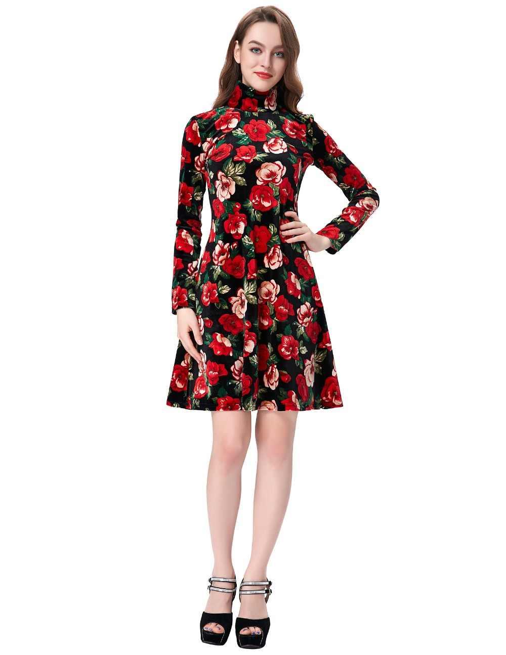 52a35c71ecf06 ... Vintage Autumn dresses Plus Size clothing winter Print vestidos  femininos casual Office dress Long sleeve Women ...