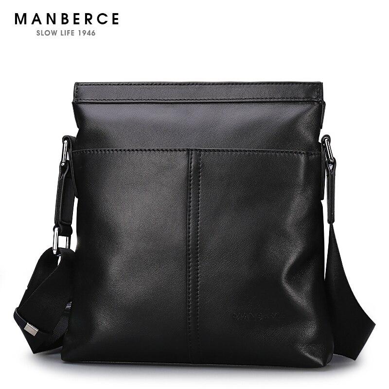 Manberce hombres de marca bolso bolsa de mensajero casual hombres bolso  Cuero auténtico moda crossbody maletín envío libre a54f864f6e4
