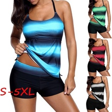 ZOGAA 2019 new Sexy Women's Fashion Two Pieces Bathing Suit Criss Cross Back Color Block Print Tankini Top S-5XL цена 2017