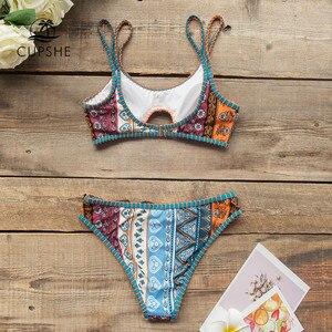 Image 4 - Conjunto de Bikini CUPSHE Boho estampado Bralette Sexy recortado Crochet traje de baño de tiro bajo dos piezas traje de baño para mujeres 2020 traje de baño para playa