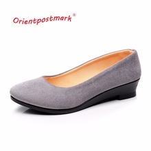 Women's Pregnant Wedges Shoes Oversize Boat Shoes Women Shoes Women Ballet Shoes for Work Cloth Wedges Sweet Loafers Slip On(China)