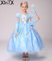 HOT! Snow Queen Filles Elsa Robe + Gants + Cape Enfants Enfants De Noël Cosplay Costume Enfant Princesse Robe Halloween partie robe
