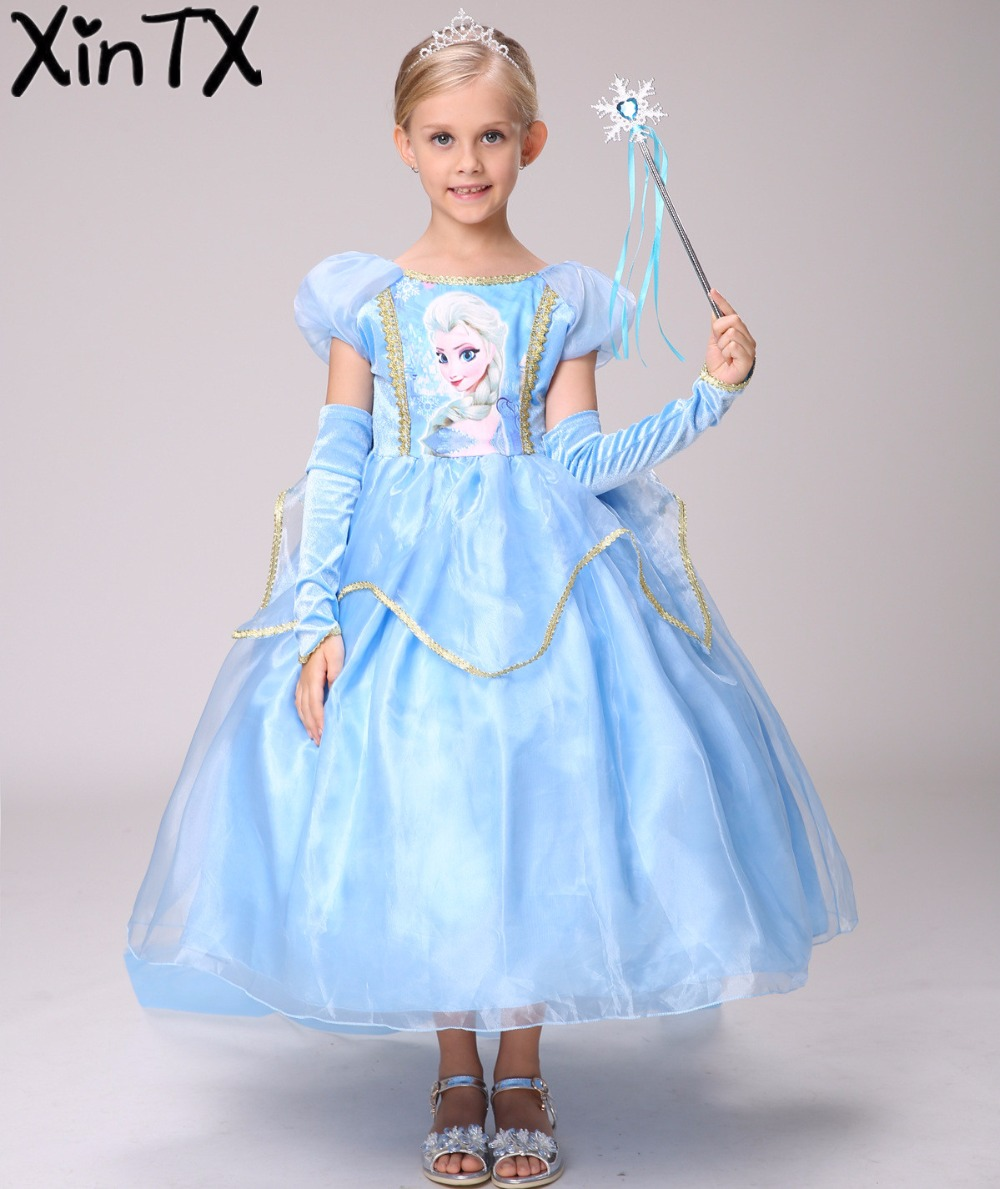 HOT!Snow Queen Girls Elsa Dress+Gloves+Cape Children Kids Christmas Cosplay Costume Toddler Princess Dress Halloween Party dress