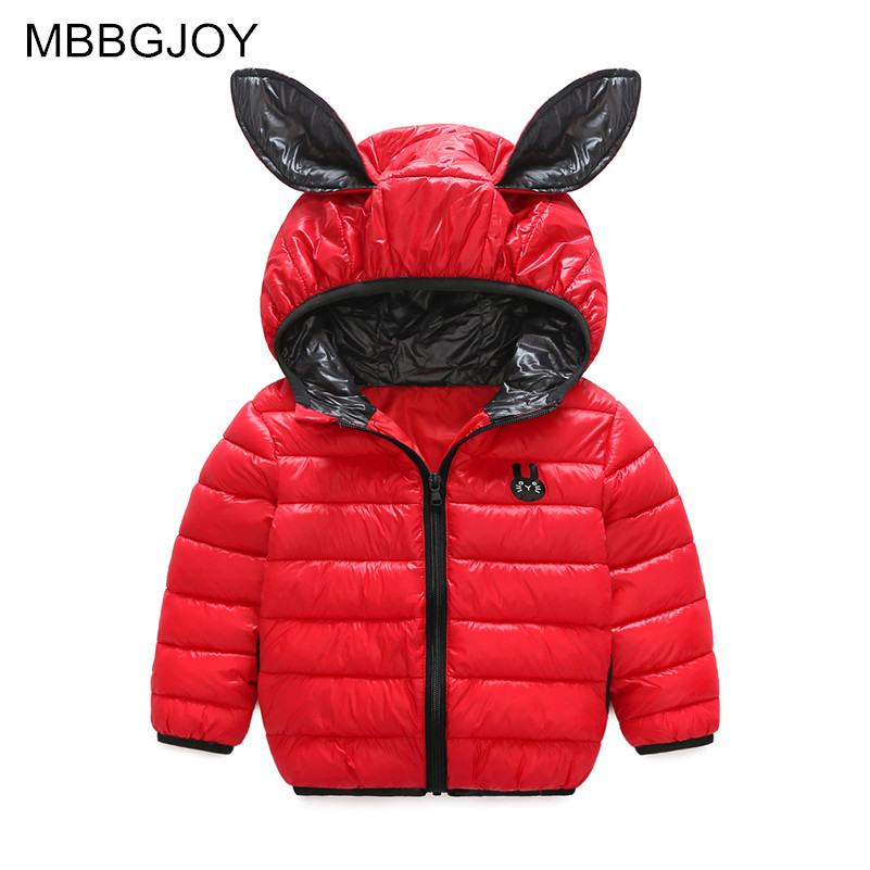MBBGJOY Kids Winter Coat Baby Girls Boys Rabbit Ears Jacket Hooded 2017 New Fashion Chidlren Cotton Padded Outerwear Coats Red 2017 new children baby winter cotton padded jacket toddler girls boys zipper nylon coat fashion outerwear kids parkas clothes