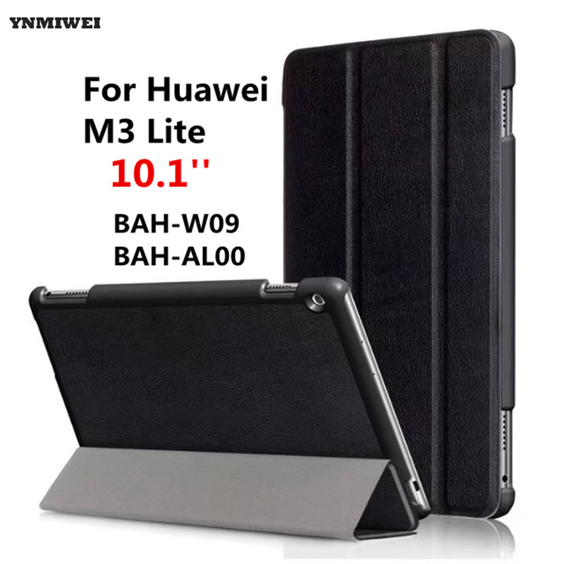 Leather Case For Media Pad M3 Lite 10 Stand Flip Magnetic Cover Case For Huawei Mediapad M3 Lite 10.1 BAH-W09 BAH-AL00 +Films new case for huawei media pad m2 lite ple 703l 7 cover pu leather flip folding case shell tablet pc cases stylus free shipping
