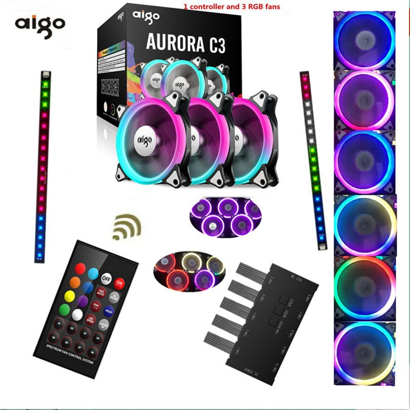 AIGO C3 C5 RGB case fans computer chassis computer cooling fan quiet+infrared remote computer adjusted 120 mm fan free delivery