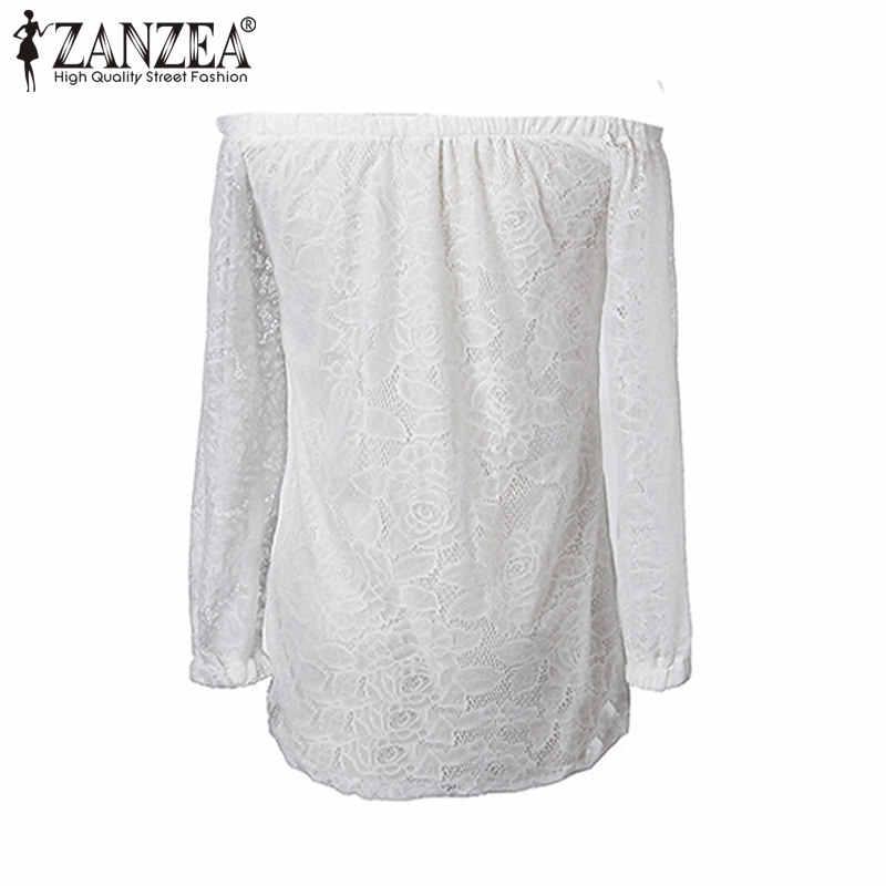 Zanzea для женщин кружевная блузка 2019 сезон: весна-лето с открытыми плечами 3/4 рукавом пикантные футболки повседневное крючком черный, белы