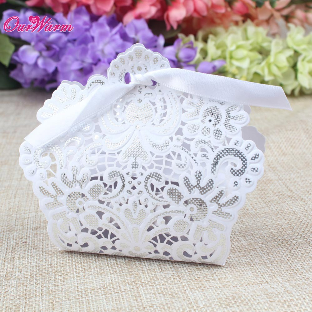 10pcs Laser Cut Christmas Candy Boxes Embossed Paper with Ribbon ...
