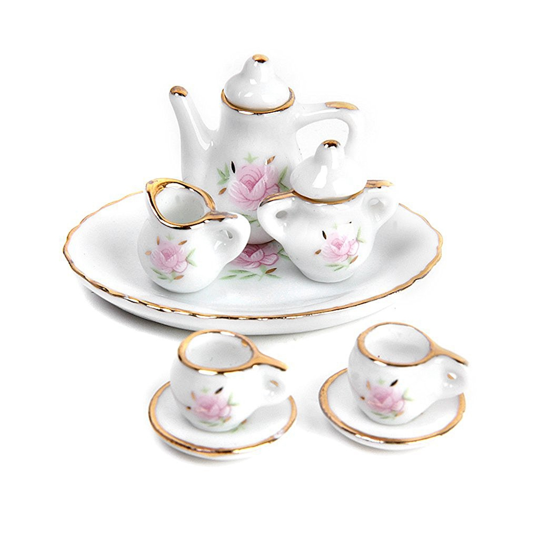 Dollhouse Miniature Restaurants Goods Porcelain Tea Set Plate Cup Plate Flower Print Pure White And Translucent Furniture Toys Strict 8 Pcs Pretend Play