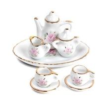 FBIL-8 шт. Кукольный домик Миниатюрные товары для ресторанов фарфоровый чайный сервиз тарелка чашка тарелка цветочный принт