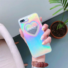 Dynamic Liquid Glitter Quicksand Case Colorful Love heart Printed Cover For Apple iPhone 8 Plus 6 6S 7 Plus Mobile Phone Cases