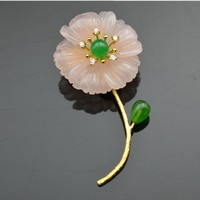 Natural Pink Crystal Pearl One Flower Brooch Pendant