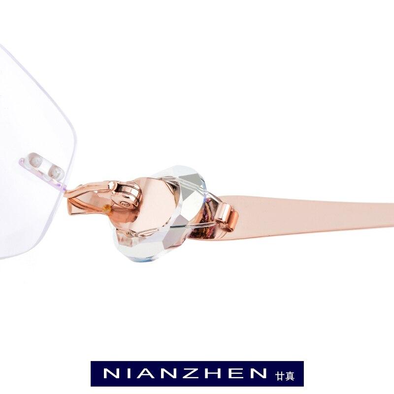 Titan Weibliche Optische Trimmen Cut B Diamant Draht Rahmenlose Frauen 7712 Luxus Rahmen Randlose Brillen Frames Gläser fHgqw5R