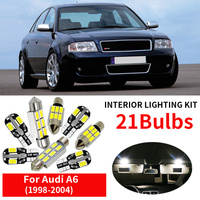 21x Canbus Auto White LED Light Bulb Interior Kit For 1998 2004 Audi A6 C5 Map Dome Glove Box License Plate Lamp Replace Halogen