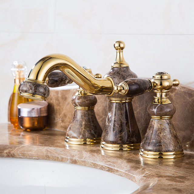 New Arrival High Quality Gold Finished Luxury 8 Inch Widespread Bathroom Sink Faucet Br And Jade