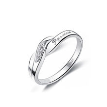 1PC Crystal Ring S925 Silver Couple Ring Forever Love For Romantic Wedding Lovers Opening rings(China)