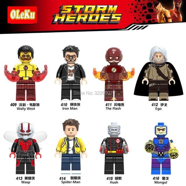 Marvel Super Heroes Planeta Vivo Wally West Flash Ego Vespa Ferro Homem Aranha Modelo Blocos de Construção Tijolos Educação Brinquedos Figuras