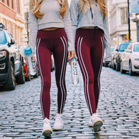 Women Red Fitness Striped Printed Leggings Stretched Leggings Fashion Female Workout Wear Pants Leggings Plus Size Femme