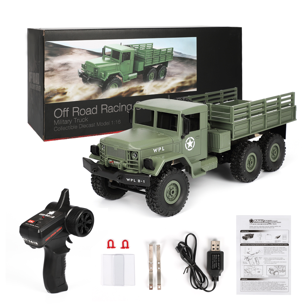 WPL B-16 1/16 2.4G 6WD Remote Control Crawler Off Road RC Car With Light RTR Ready-to-go With Transmitter DIY Kids Toys Gift 1 16 wpl 6wd crawler military trunk b 16 crawler remote control car model toy