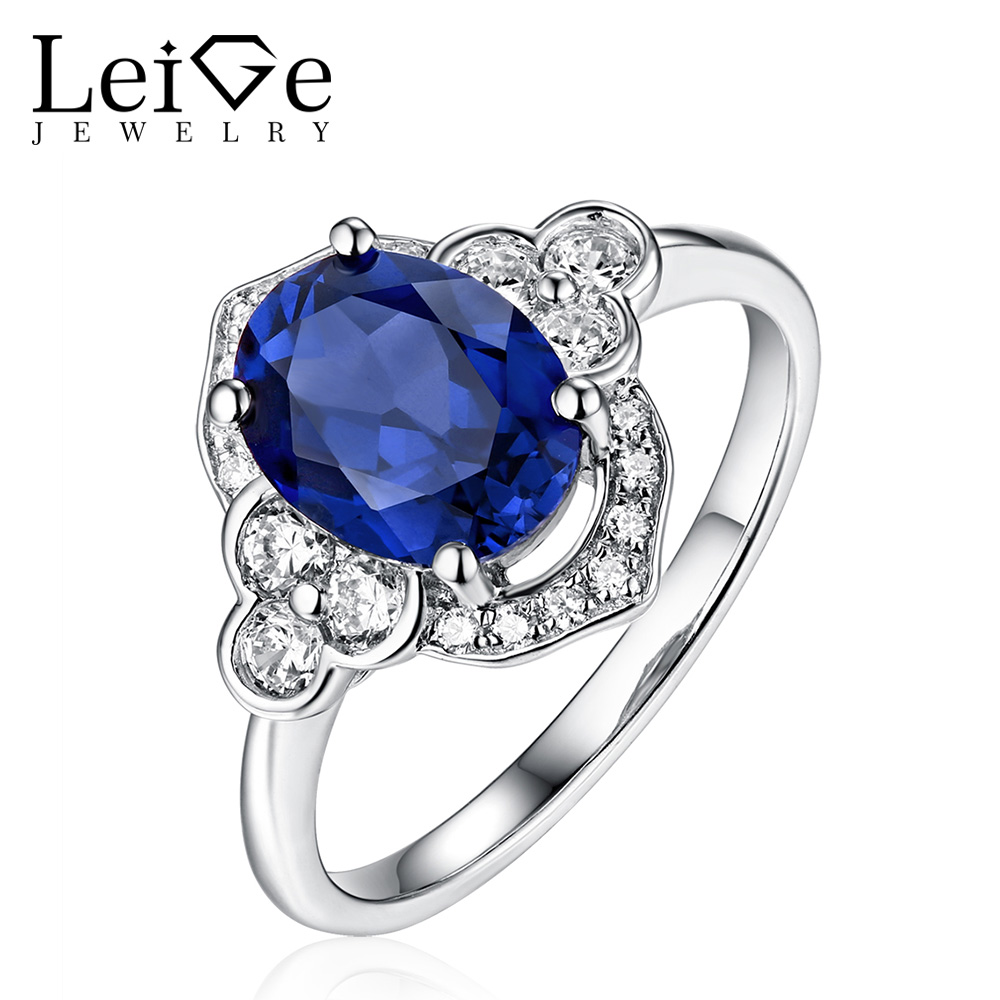 Leige Jewelry Blue Sapphire Ring Sliver 925 Oval Cut Prong Setting Women Wedding Promise Rings Anniversary Gift Fine Jewelry