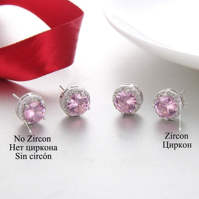 Classic Green Zirconia Stud Earrings Round Crystal Women Multicolor Fashion Jewelry 4