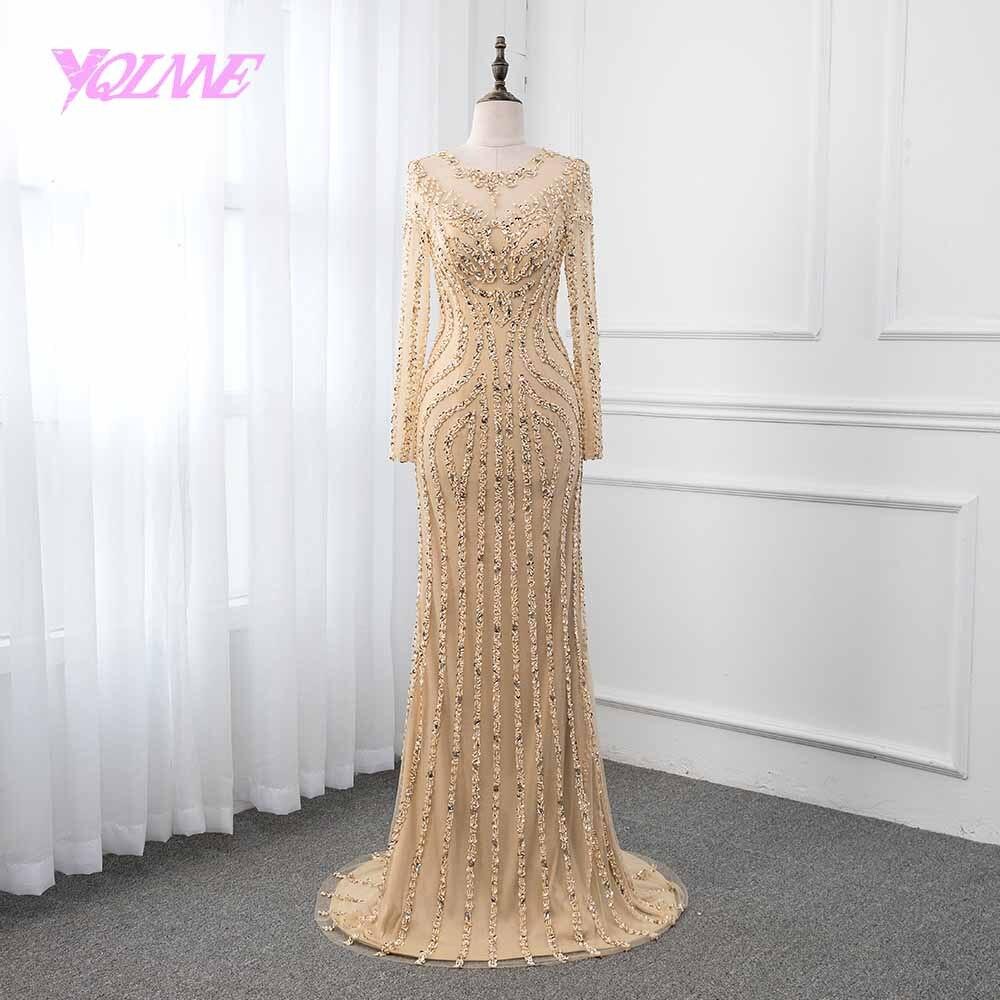 Vestido de noche de manga larga de oro YQLNNE 2019 cristales de sirena vestidos de desfile con cuentas