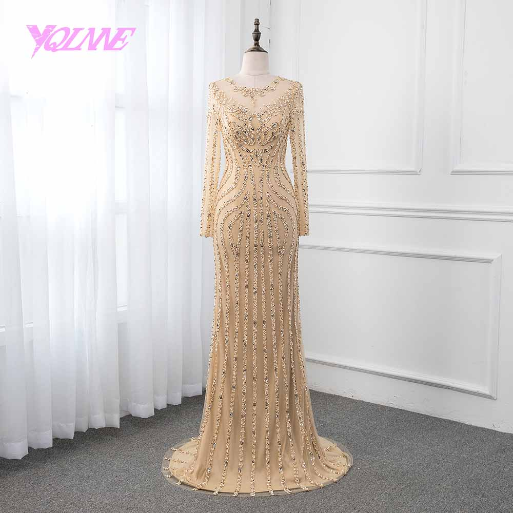 YQLNNE Gold Long Sleeve   Evening     Dress   2019 Mermaid Crystals Beading Pageant   Dresses   Robe de Soiree