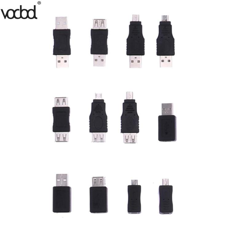 12pcs USB Adapters Set 12 In 1 OTG USB2.0 Mix Adapters Kit OTG F/M Mini Adapter Converter Male To Female Micro Usb Adapter Set
