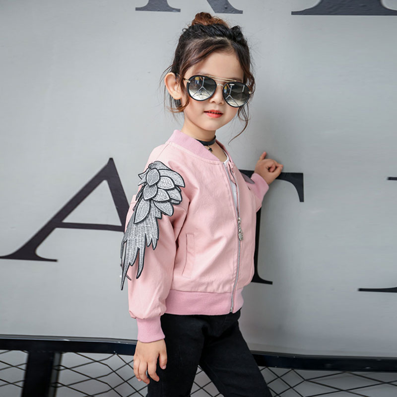 Girl Spring Fashion Leather Jacket Child Angel Wings Decorative Jacket Kids Embroidered Pattern Autumn Clothing