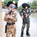2017 Primavera Otoño Niños Pequeños Moda Sistema de la Ropa de Camuflaje Militar Uniforme Ropa de Los Niños del Juego Del Deporte 2 Unids G751