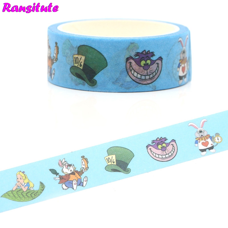 Ransitute R387 Cute Color Washi Paper Tape Manual DIY Decorative Paper Tape Removable Color Tape