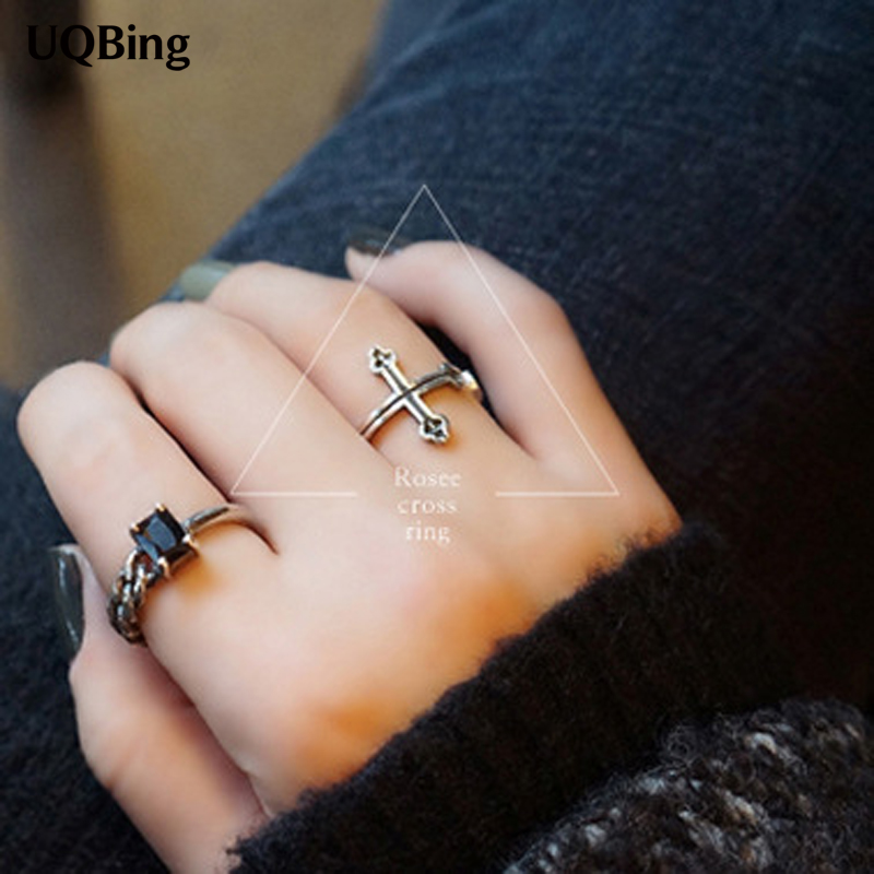 2016 New Arrivals Free Shipping 925 Sterling Silver Ring Fashion Cross Silver Ring Women Jewelry Gift Finger Open Rings