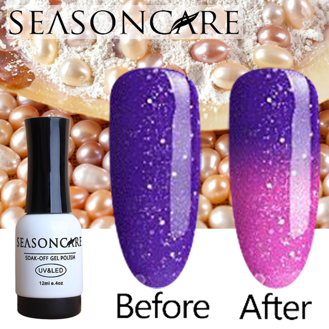 SEASONCARE Pearl Chameleon Nail Gel Polish Temperature Thermal Color Change Gel Nail Varnish Soak Off Long Lasting