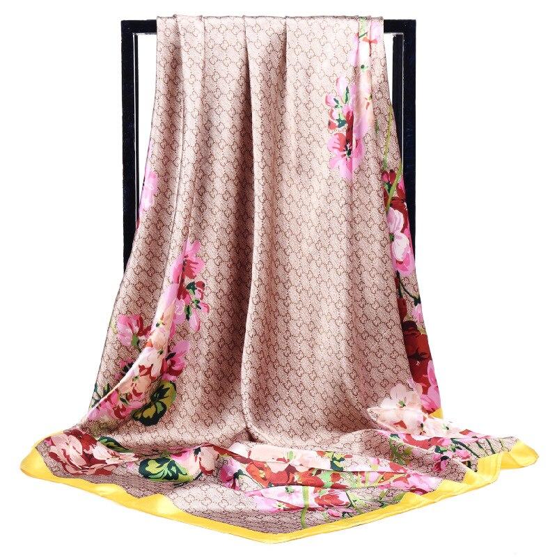 POBING Women Silk   Scarf   Flowers Print Square Head   Scarves     Wraps   Luxury Brand Female Foulard Satin Muslim Large Hijab 90*90cm