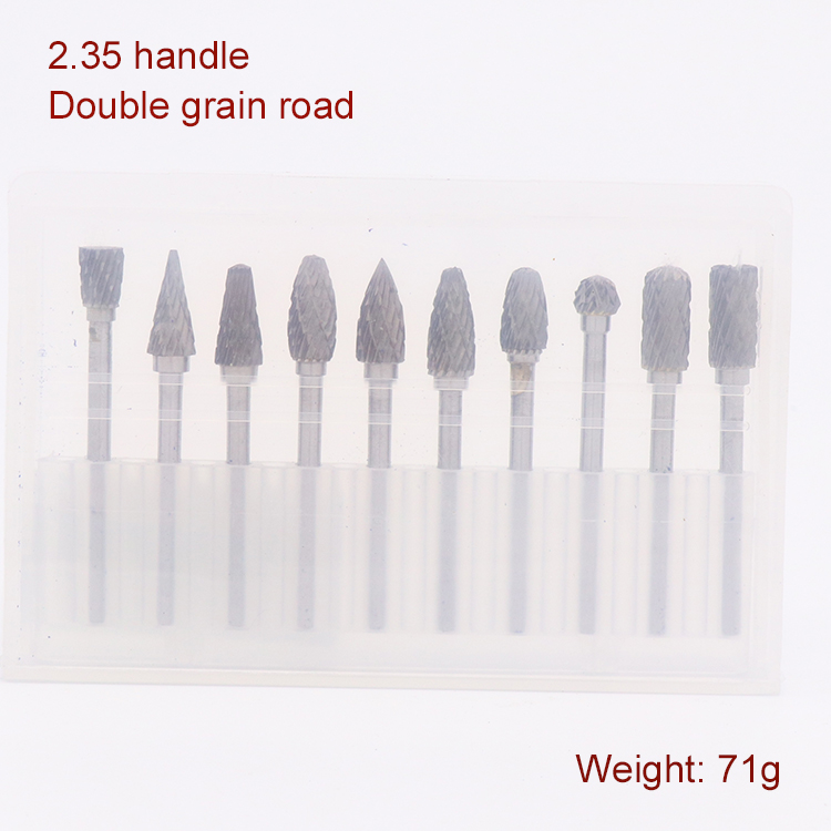 Купить с кэшбэком 10pcs 3/2.35mm Shank Tungsten Carbide Milling Cutter Burr Double Diamond Cut  For Dremel Electric Grinding Rotary Tools