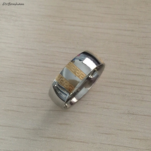 Never fading silver gold color engagement men ring textured greek