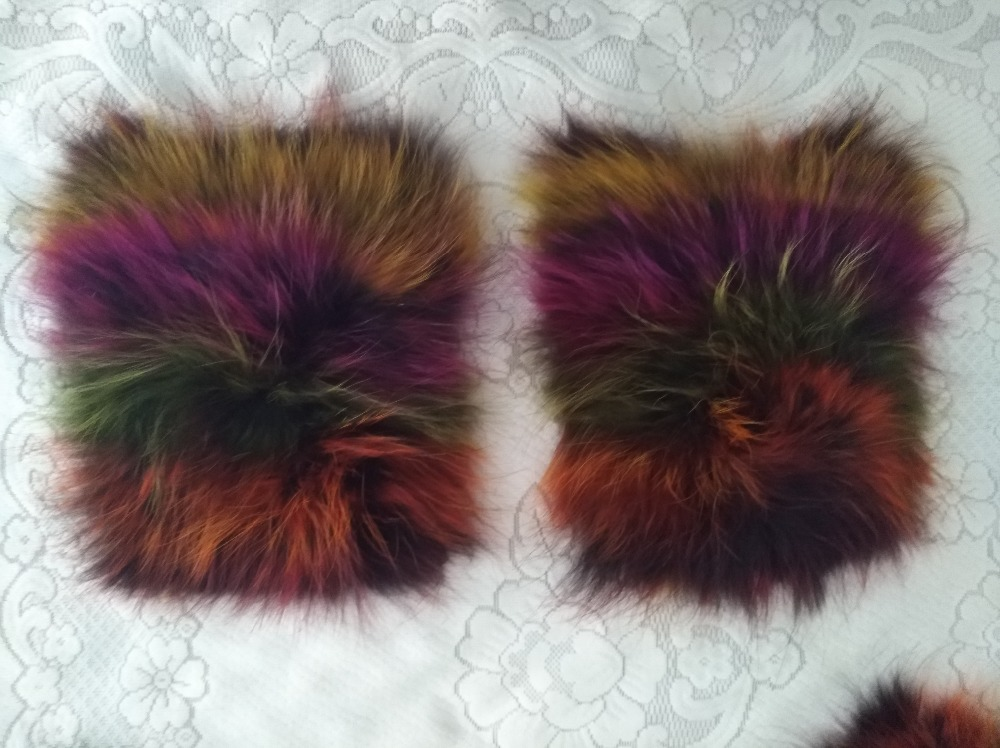 New arrival lady natural raccoon pocket decoration fur garment accessory colorful parka