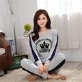 2016 Coreano new long-sleeved pijamas mulheres outono e inverno ternos conjuntos de vestuário de malha de algodão feminina sleepwear homewear S2883