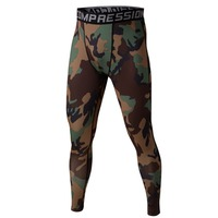 2017 Men S Sport Running Pants Camo Print Slim Compression Leggings Base Layer Long Trousers