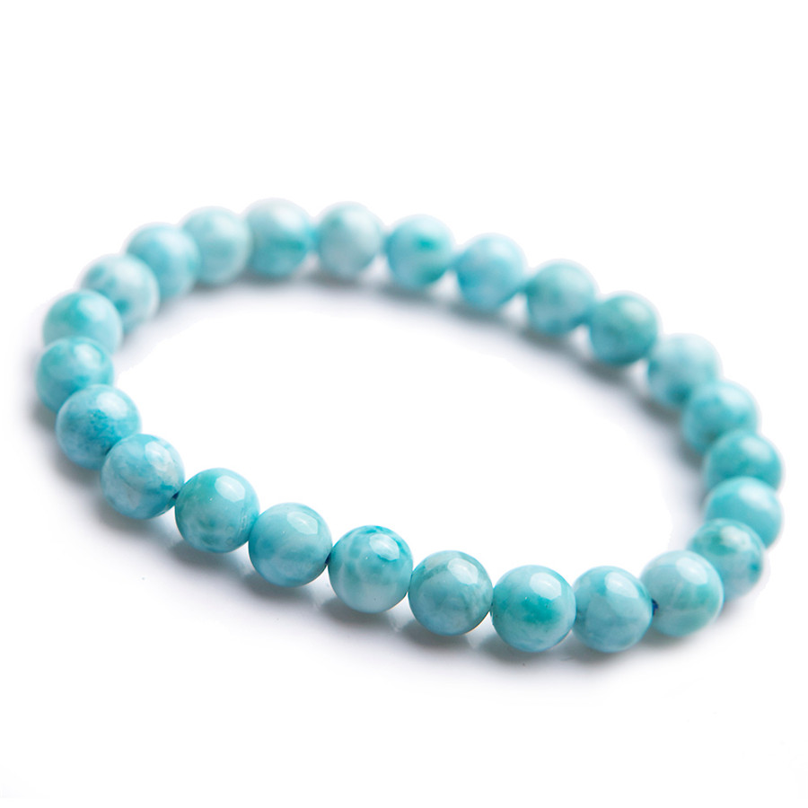 Genuine Natural Larimar Round Beads Crystal Bracelet Crystal Stone Beads Bracelet Fashion Women Blue White Larimar Bracelet 7mm shiying c04349 fashion elephant multilayer tourmaline natural crystal bracelet blue