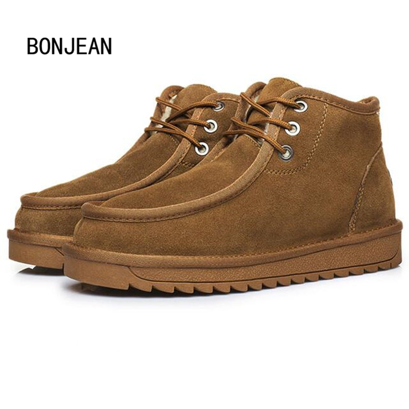 Winter Snow Boots Shoes for Men Warm Ankle Boots Beckham Same Style Real Sheepskin Genuine Leather Suede Wool Fur Winter Shoes new 3236 men and women same styles sheepskin wool fur leather flat boat shoes shoe