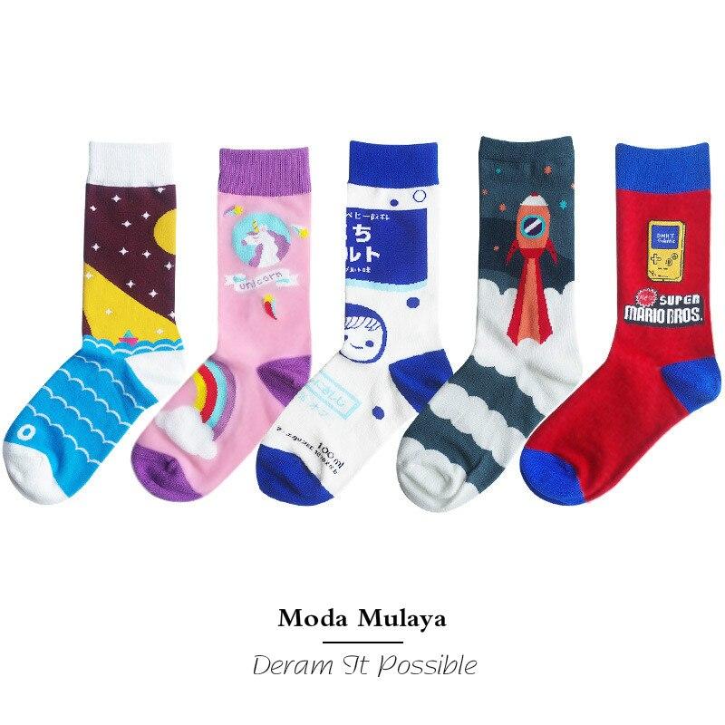 Moda Mulaya Women's Funny Socks 100% Cotton Thermal Cartoon Colorful Unisex Happy Socks Male Female Cute Harajuku Sock For Woman