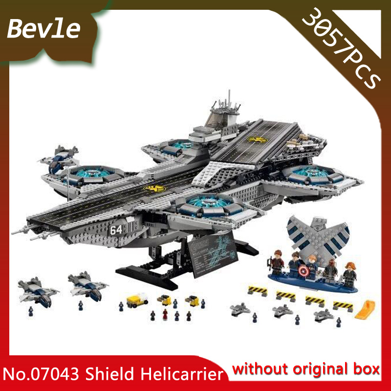 Bevle Store LEPIN 07043 3057pcs Super Hero Series Shield Helicarrier Aircraft Carrier Building Block Bricks Children Toys 76042 new avengers season 2 hulk rocky space aircraft carrier breakout super hero minifigures building block compatible with legoe