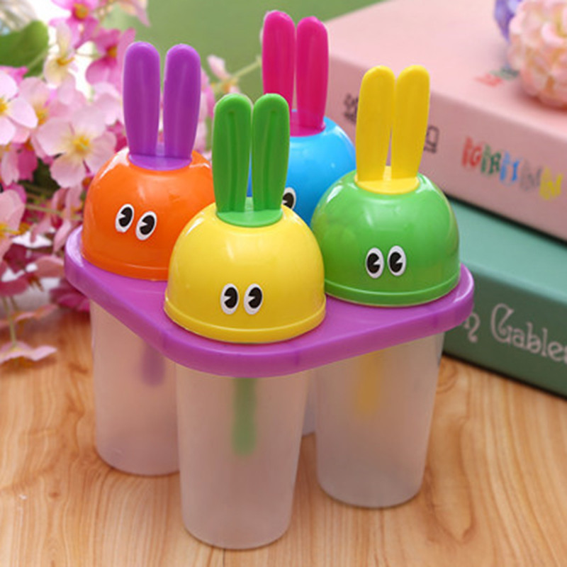 4PCS Rabbit Head Popsicle Ice Lolly Mold Frozen Icecream Maker Ice Cube Mould Freezer Kitchen DIY Tools Best cooking tools sets