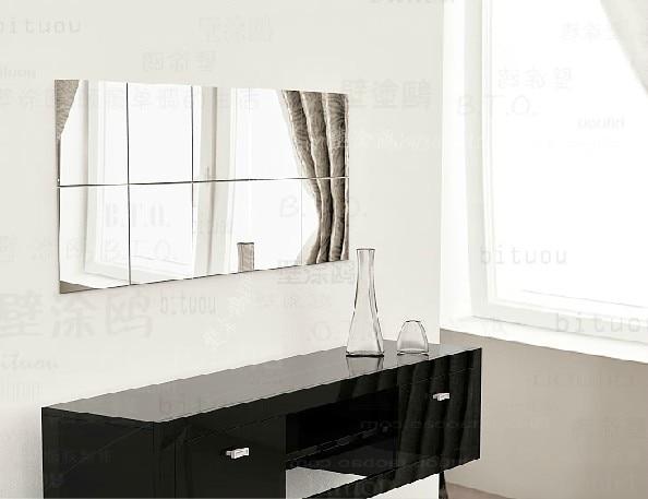 NEW ARRIVE 25x15cm rectangle mirror sticker , Acrylic mirror murals 10pcs per set for washroom decoration