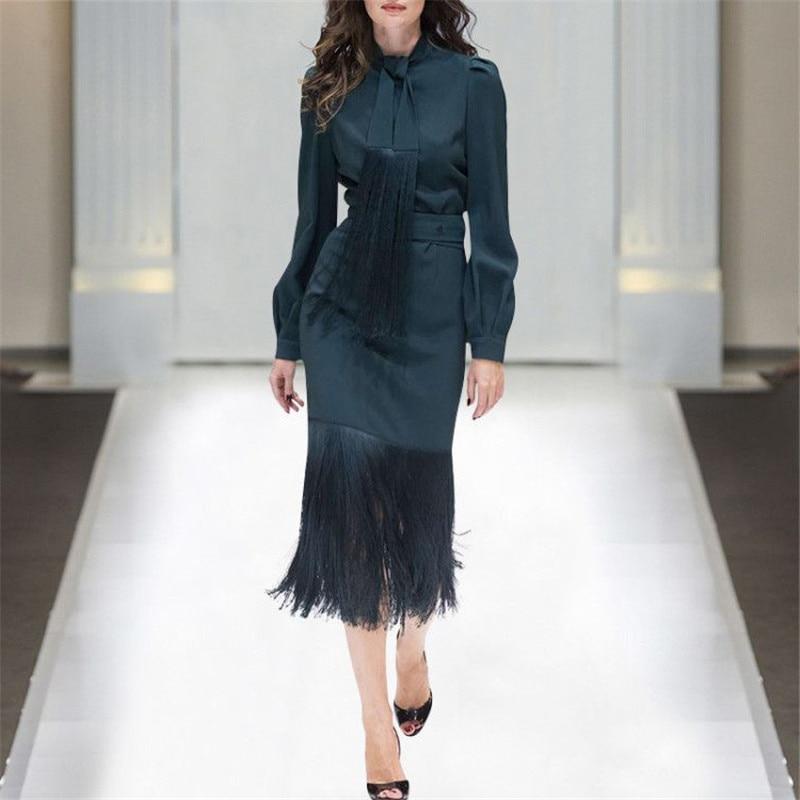 Top Quality Runway Suit 2Piece Top Skirt Set Women 2019 Spring Designer Long Sleeve Bow Collar