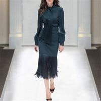 Top Quality Runway Suit 2Piece Top Skirt Set Women 2019 Spring Designer Long Sleeve Bow Collar Tassel Blouse+Skirt Office Outfit