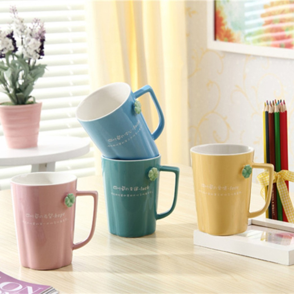 New arrivel KEYAMA Candy colors ceramic embossed glaze breakfast milk mugs with bam lid Office coffee cups gifts Home decoration