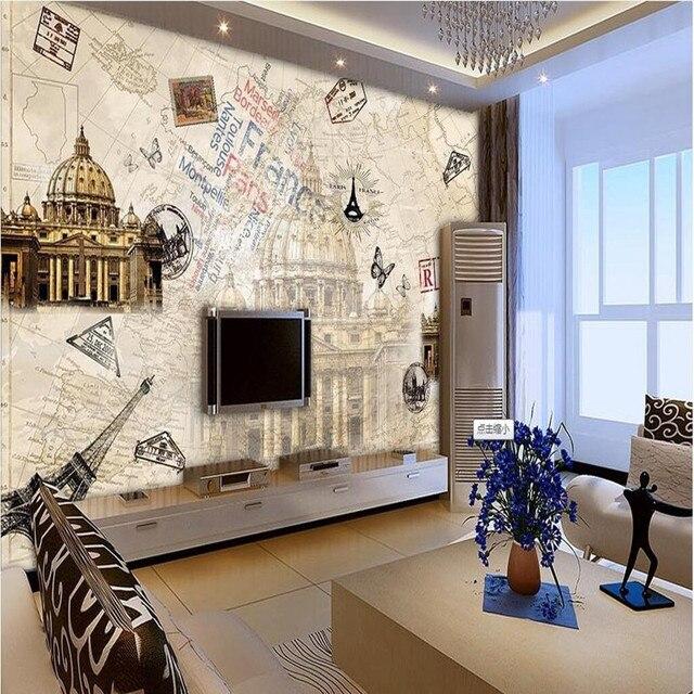 world map wall mural bedroom custom photo wallpaper 3d wall murals european nostalgic world map stickers castle tv backdrop
