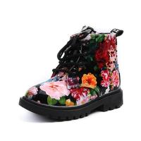 MUQGEW Girls Fashion Floral Kids Shoes Baby Martin Boots Casual Children Boots Patent Leather Girl Boots